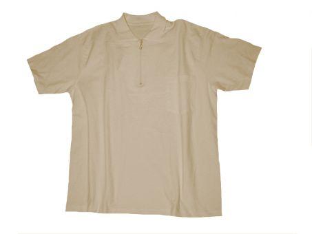 Polo T-Shirt m. Zip u. Tasche, sand