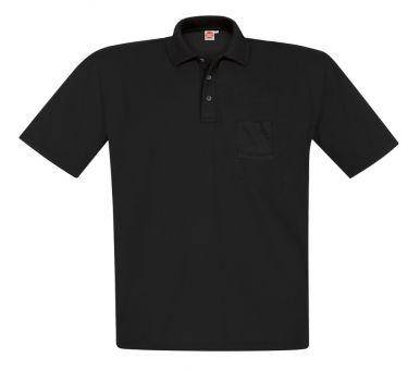 Polo-Pique mit Brusttasche schwarz 12XL