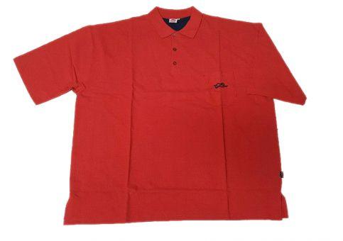 Poloshirt in rot mit Brusttasche und Kontrastfarbe in 3XL und 6XL