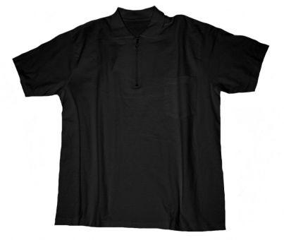 Polo T-Shirt m. Zip u. Tasche, schwarz